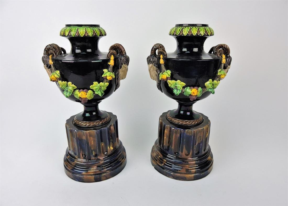 Majolica Palissy style pair of urns