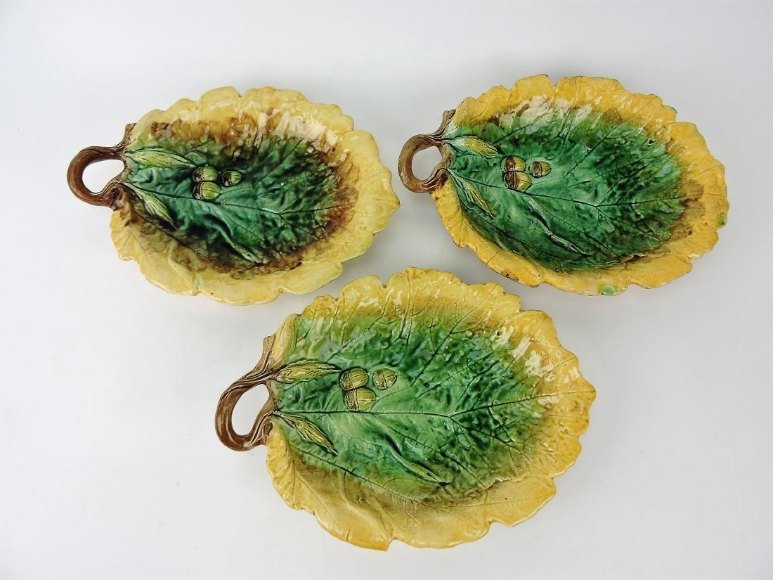 Majolica lot of 3 oak leaf trays,