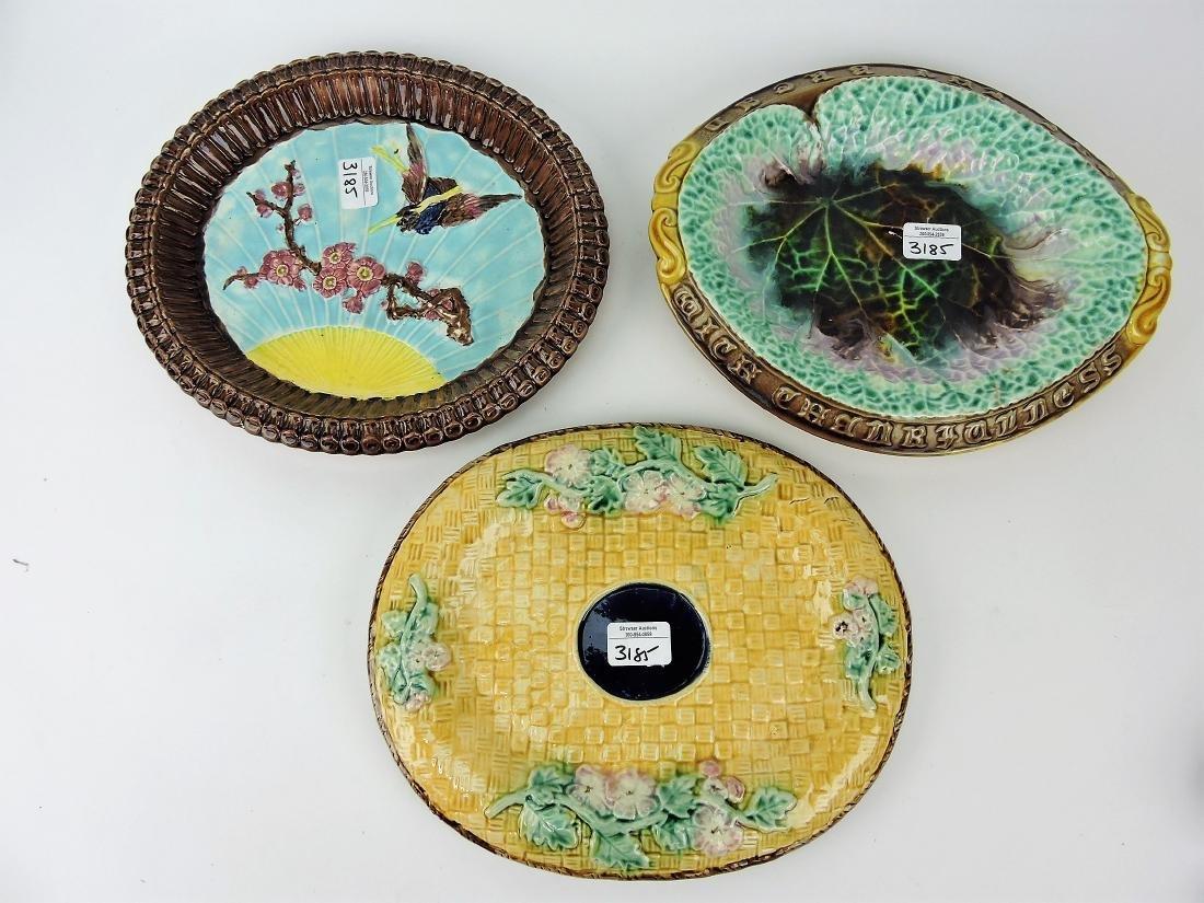 Majolica lot of 3 platters, various