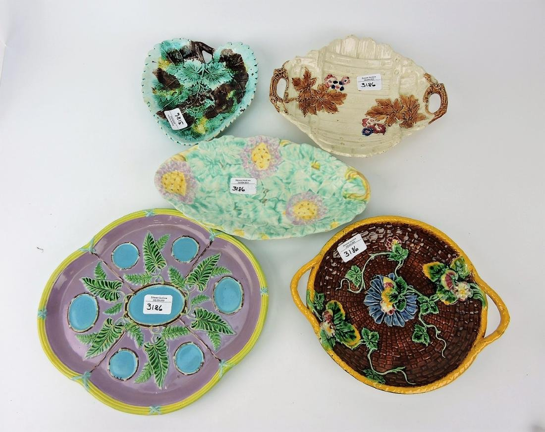 Majolica lot of 5 platters & trays,