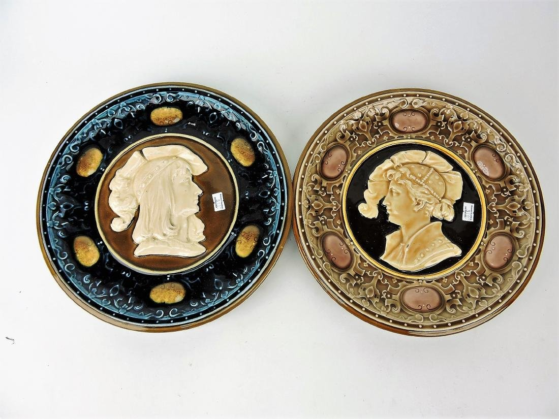 Majolica lot of 2 portrait chargers