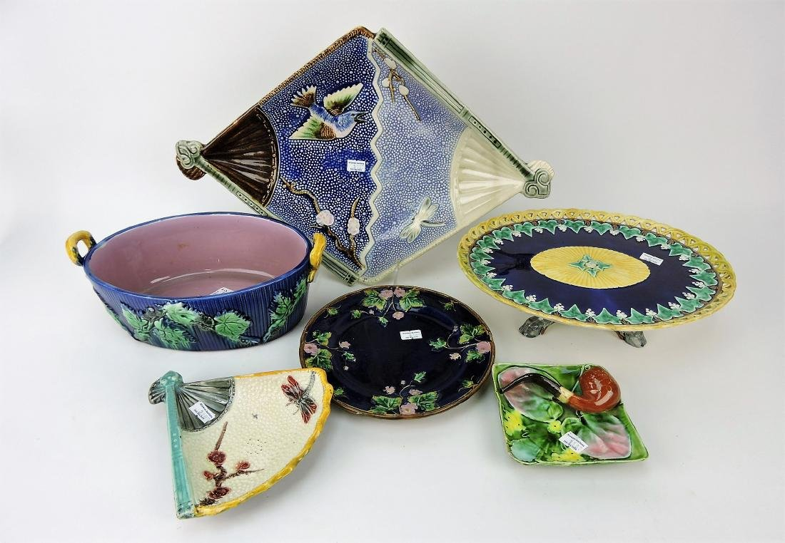 Majolica lot of 6 trays, bowl, compote,