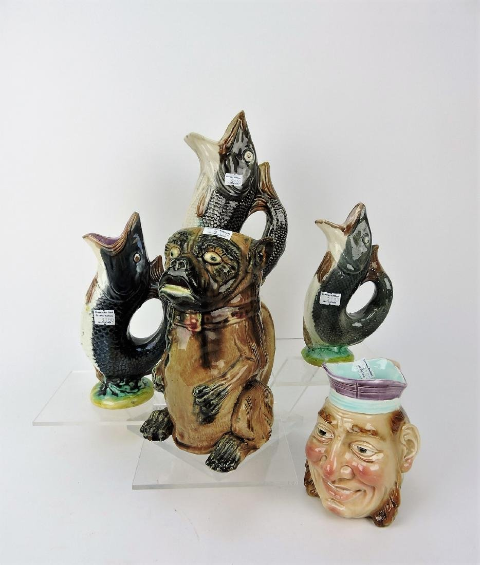 Majolica lot of 5 figural pitchers;