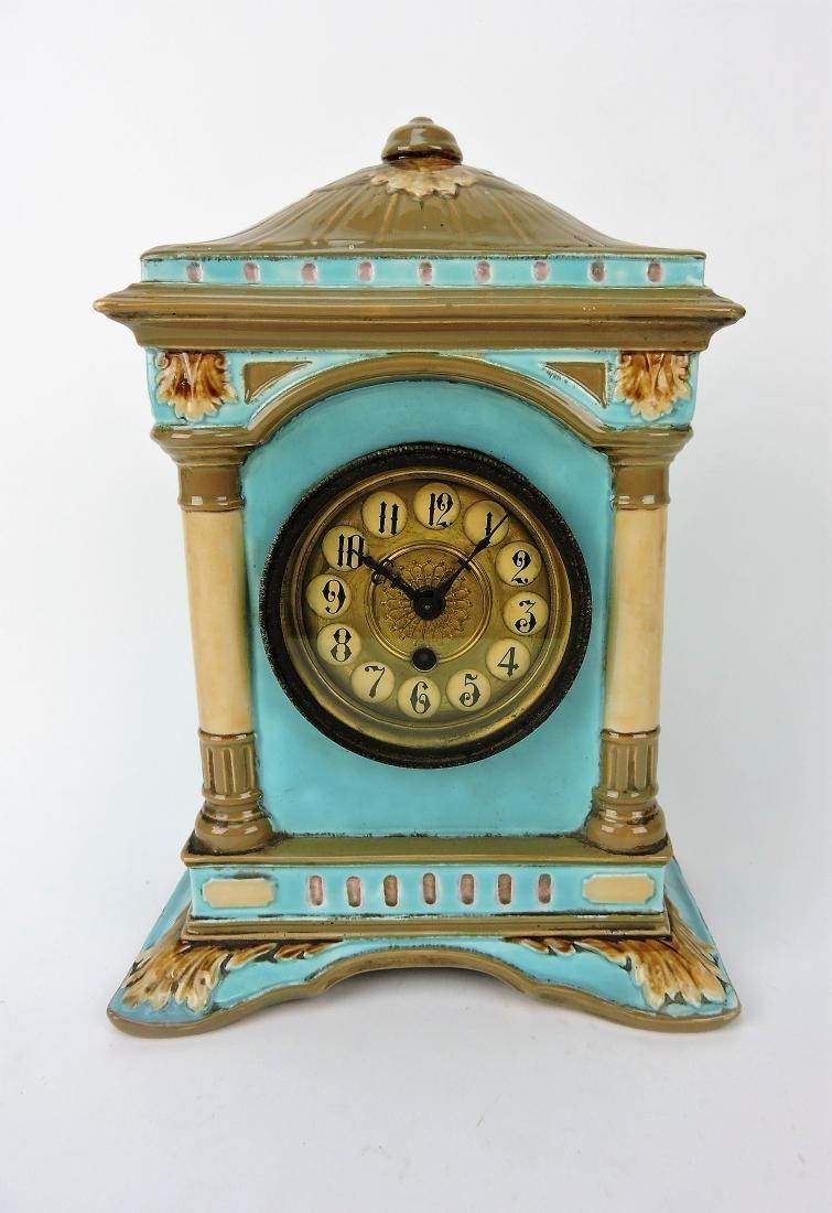 """Majolica mantle clock, 13"""""""