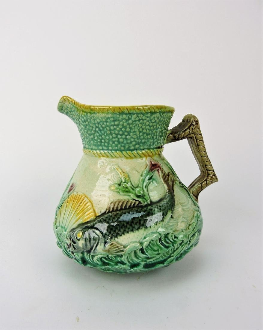 Majolica fish and waves pitcher,
