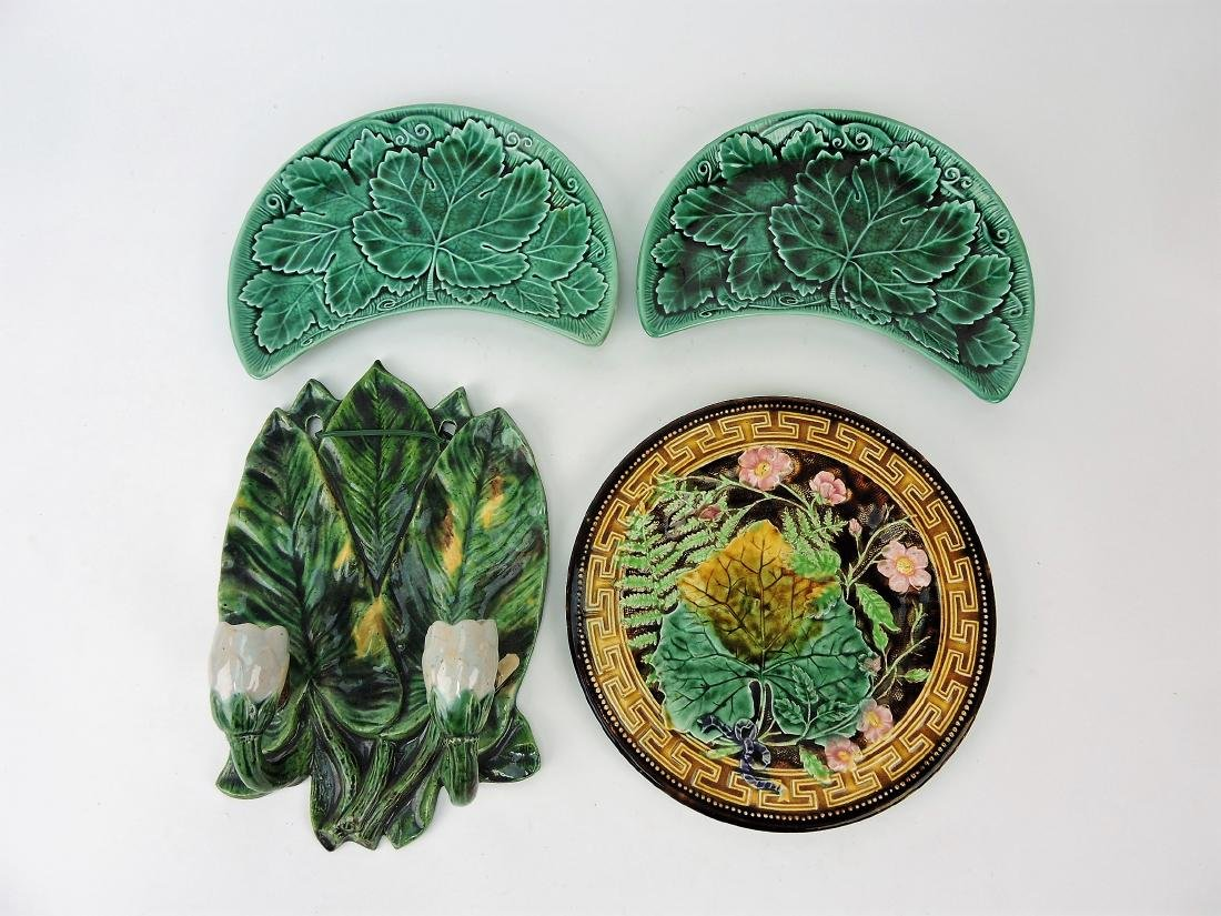 Majolica lot of 4 assorted items