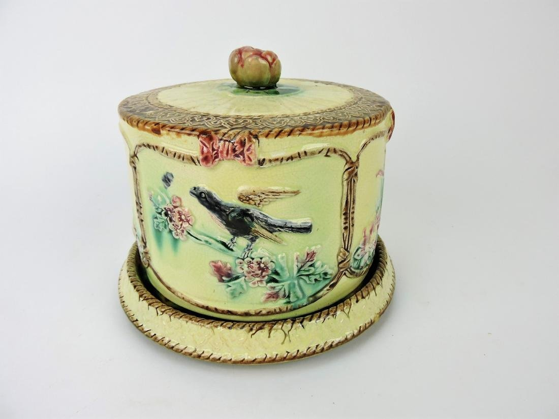 Majolica bird and branch cheese keeper,