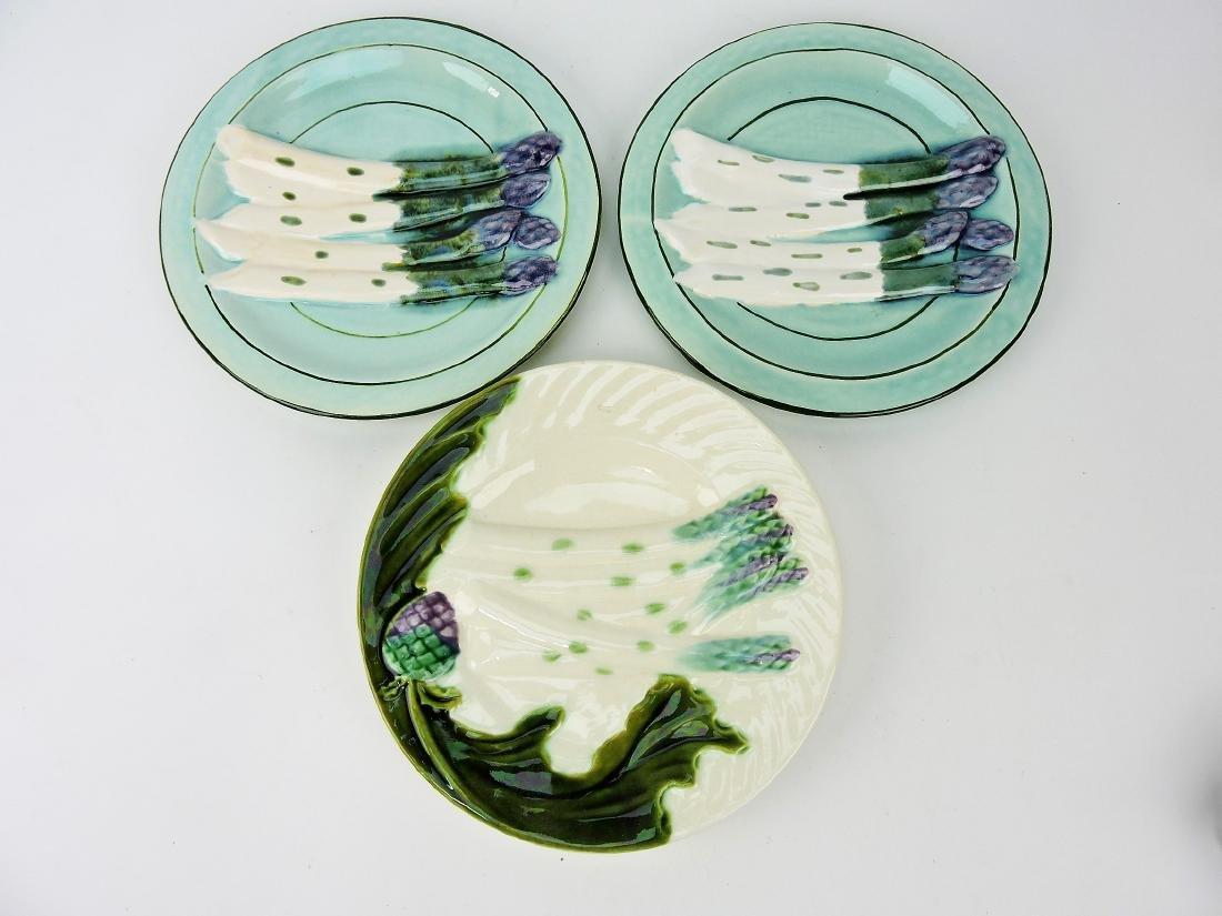 Majolica lot of 3 asparagus plates