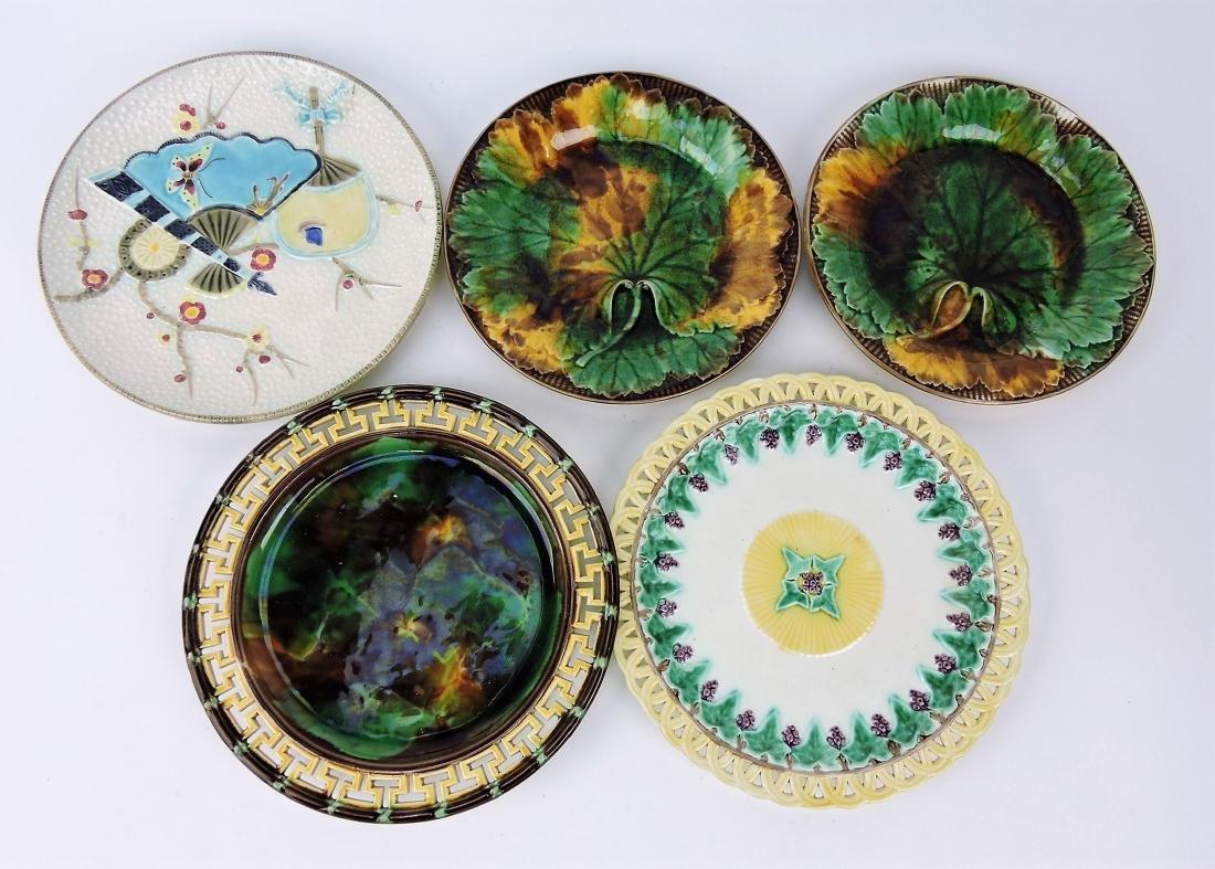 Majolica lot of 5 plates; 4 Wedgwood,
