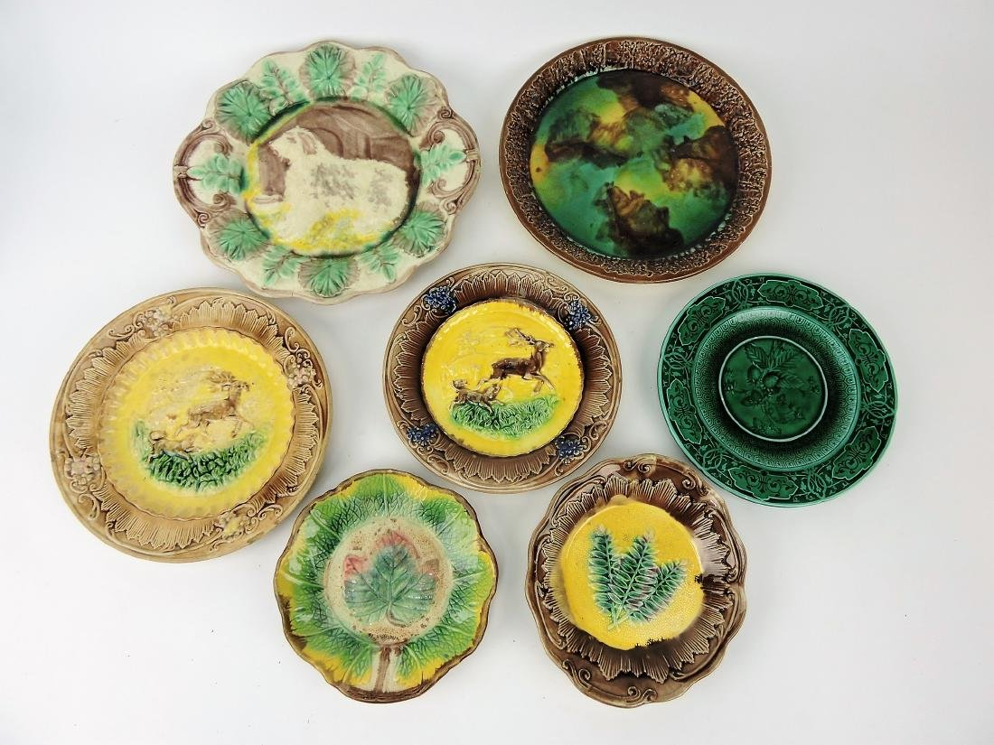 Majolica lot of 7 plates and trays,