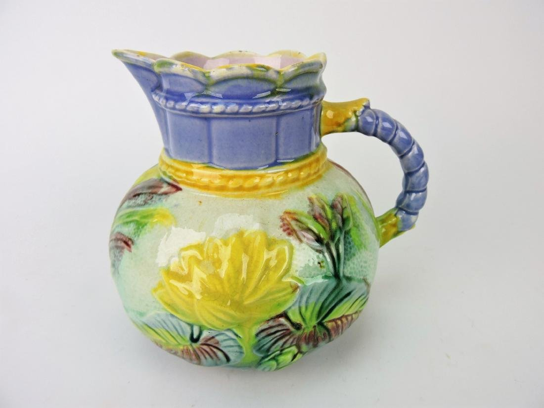 Lear Majolica water lily pitcher with