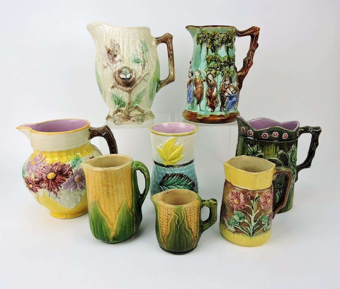 Majolica lot of 7 pitchers and one