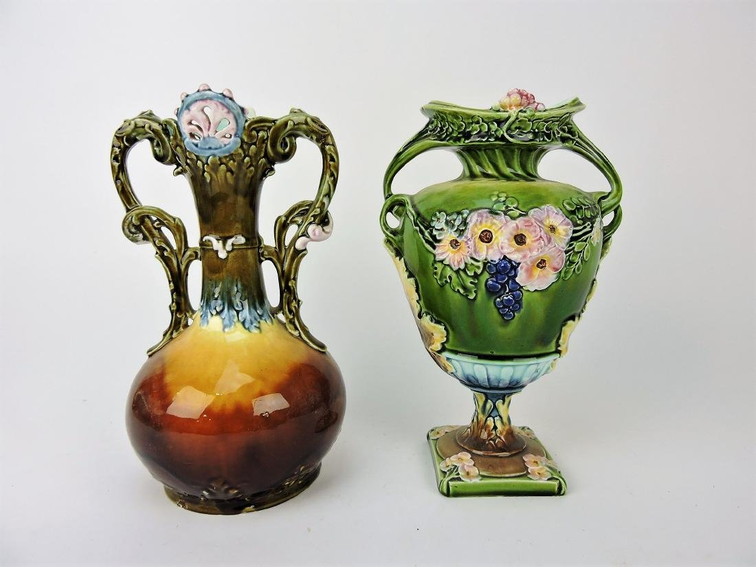 Continental Majolica lot of 2 vases,