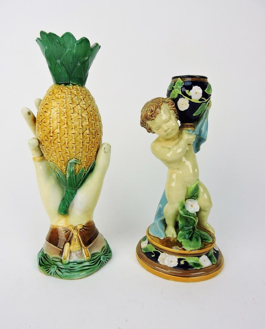 Majolica hand and pineapple vase AND