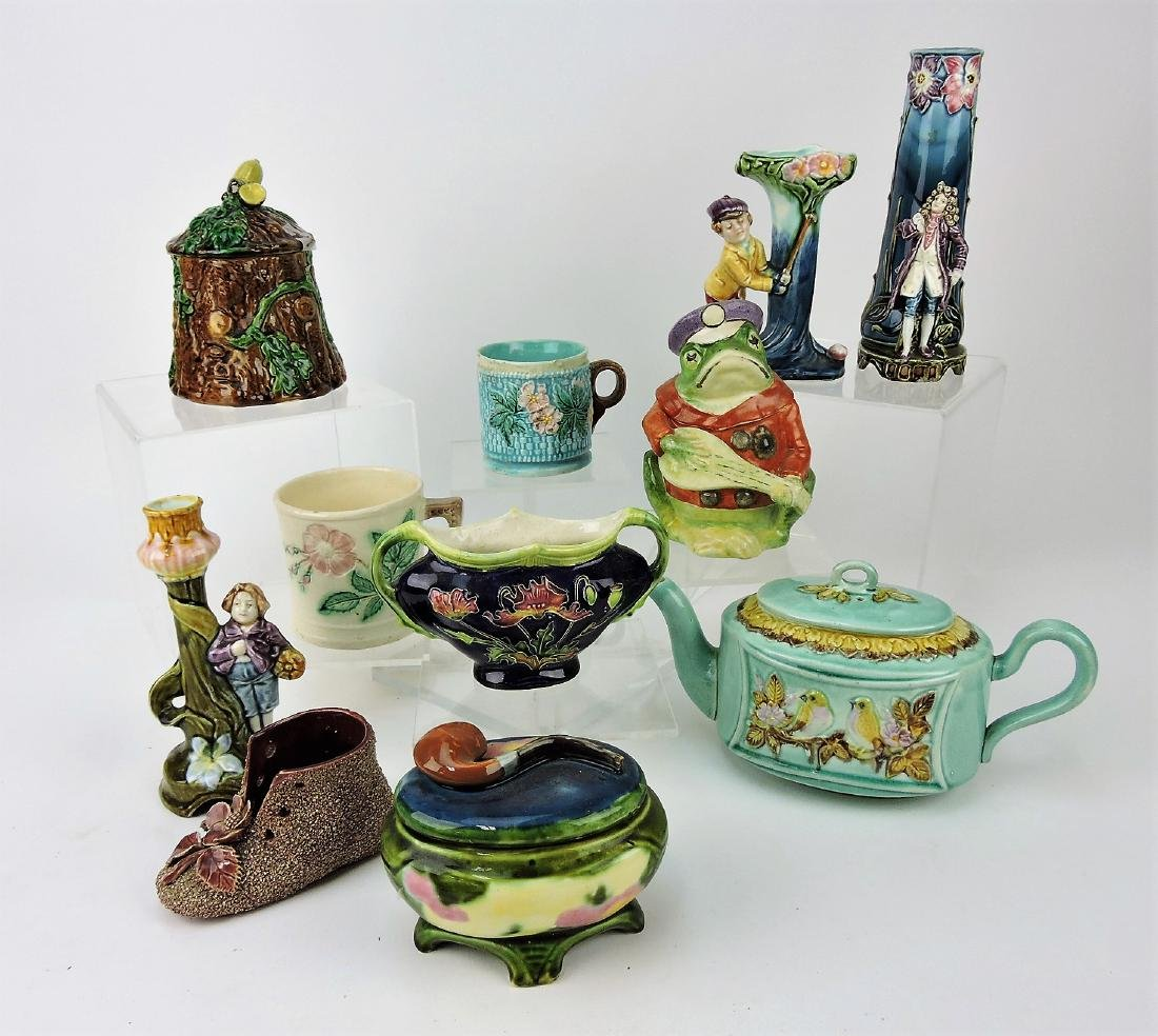 Majolica lot of 11 assorted pieces,