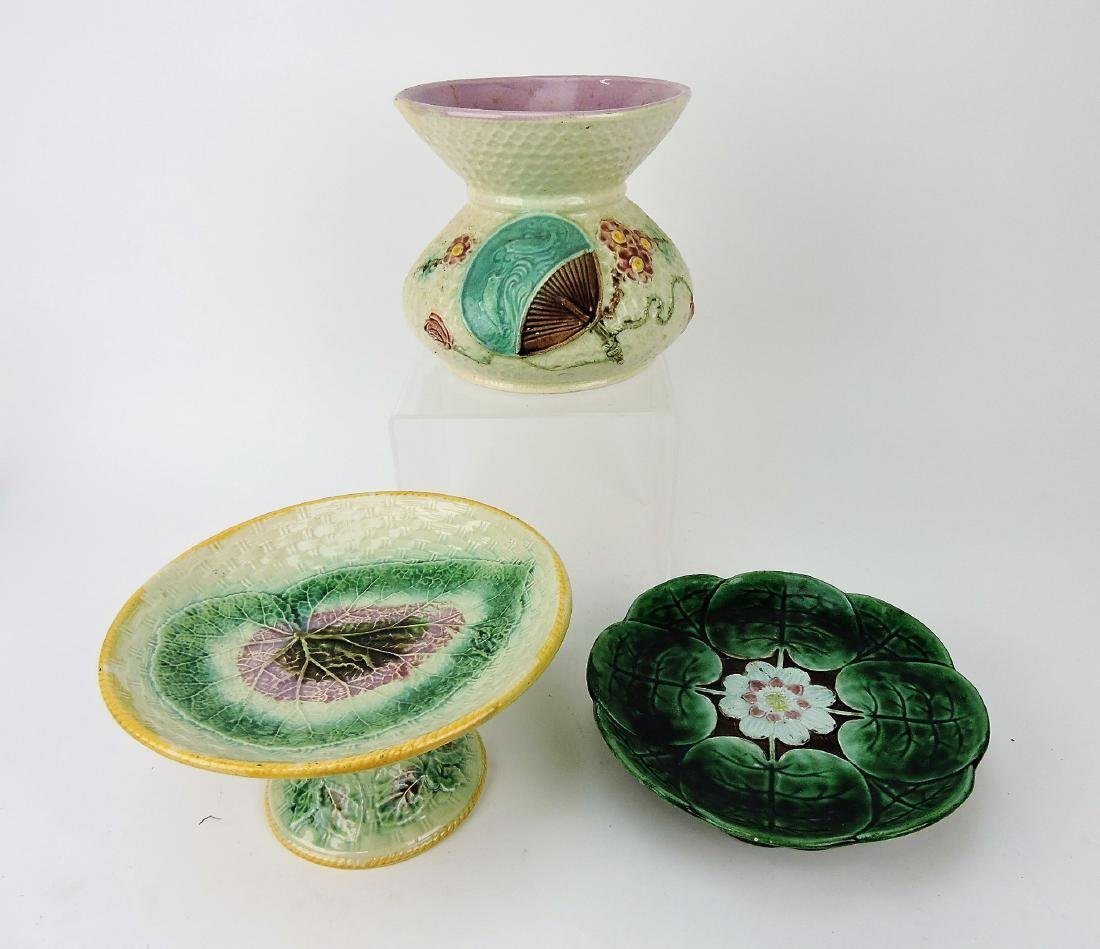 Majolica lot of 2 compotes and one