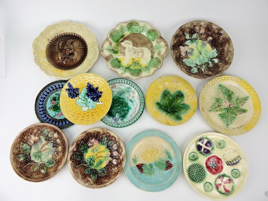 Majolica lot of 12 plates, various