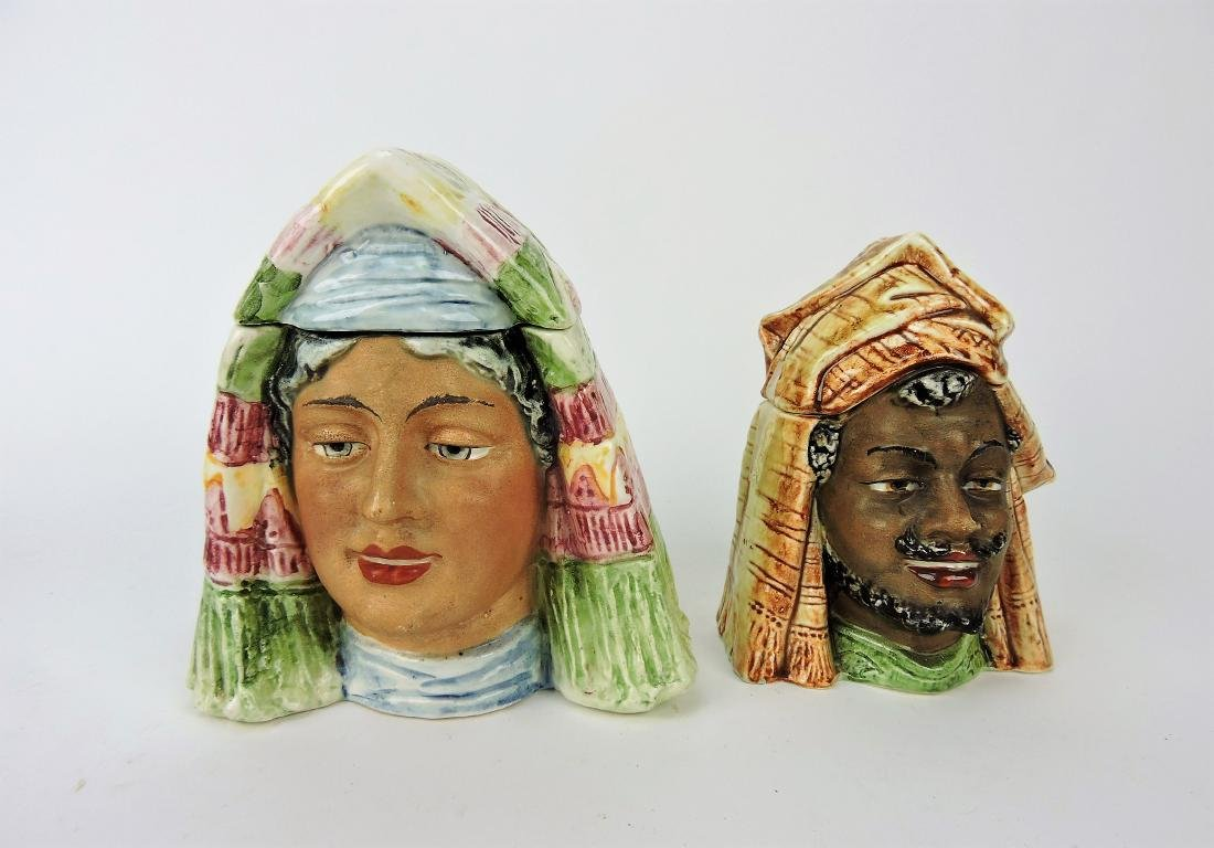 Majolica lot of 2 figural humidors,
