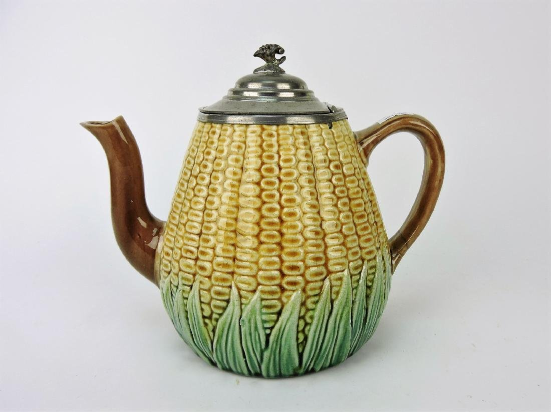 Majolica corn teapot with pewter lid,
