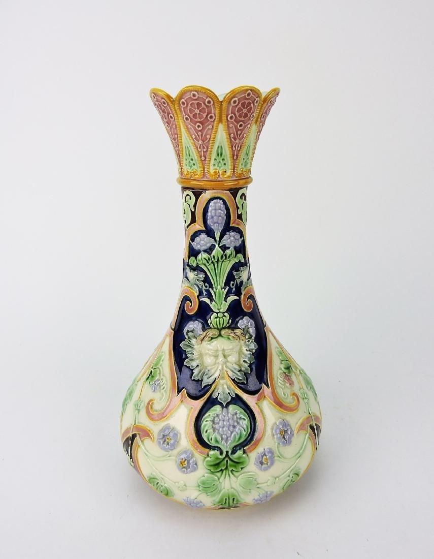 Copeland Majolica vase with mask,