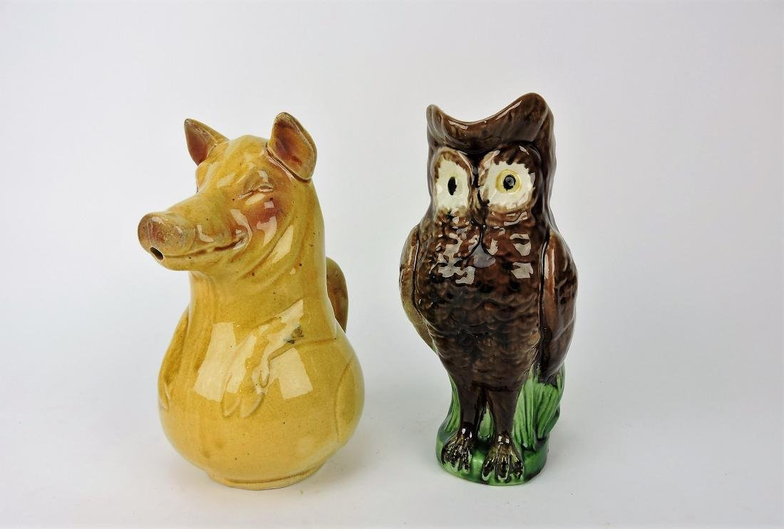 Majolica figural pig and owl pitchers