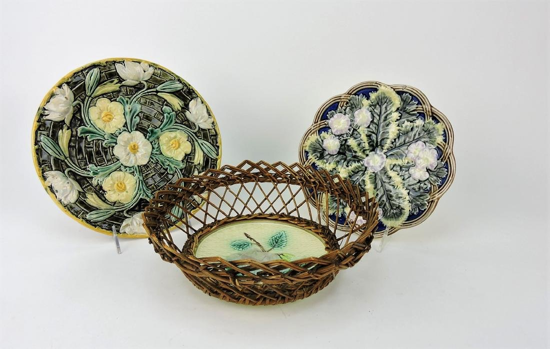Majolica lot of 3 plates, one in wicker