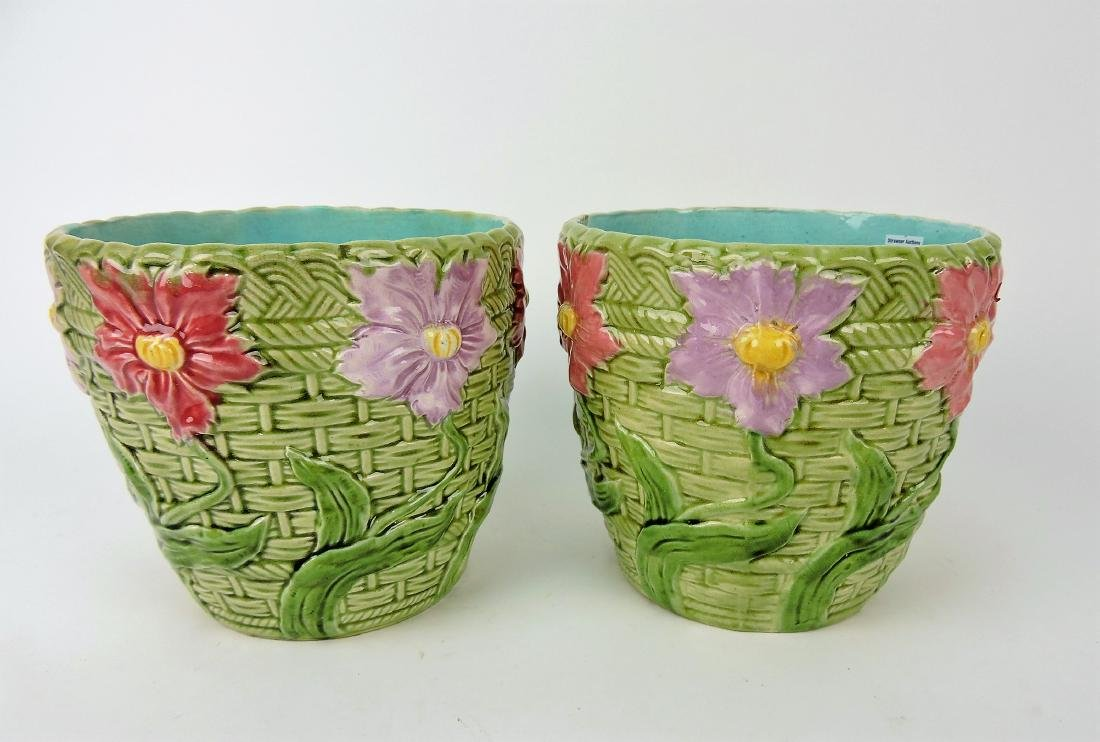 Pair of Majolica floral cachepots,