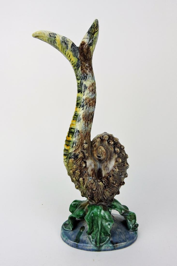 "Majolica Palissy snake figural ewer, 16"","
