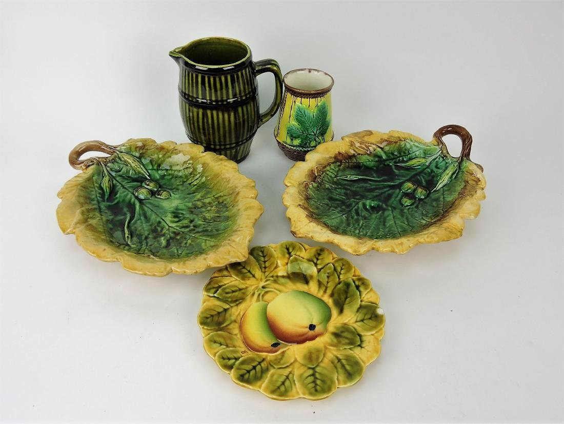 Majolica lot of 5 assorted pieces,