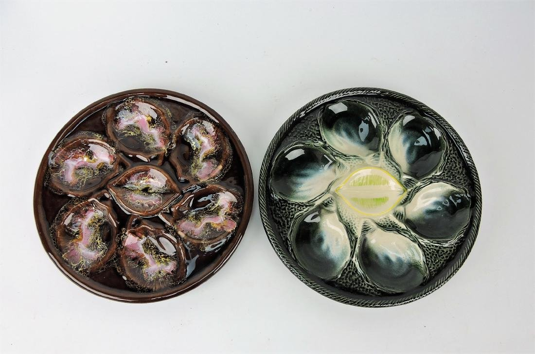 Majolica lot of 2 French oyster