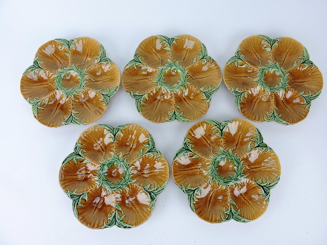 Set of 5 French Majolica 6 well