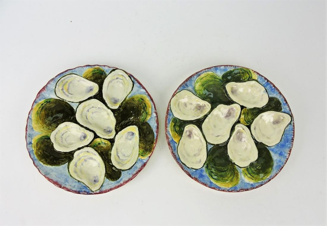 Napoli French Majolica pair of oyster