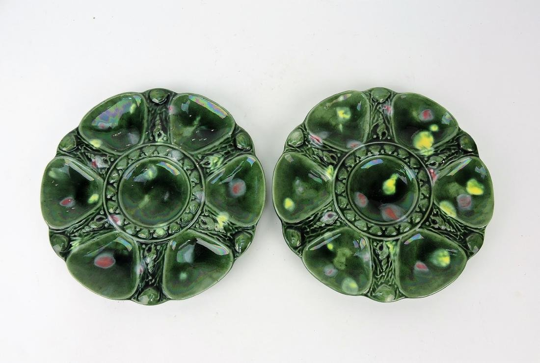 Majolica pair of green mottled 6 well