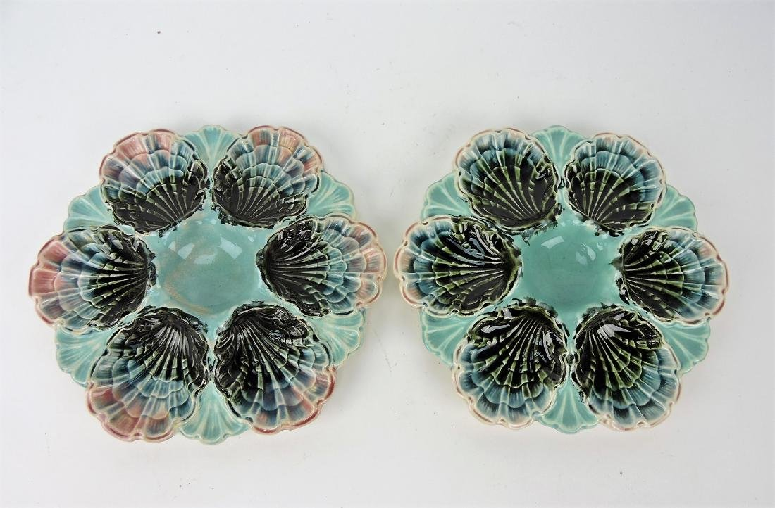 """French Majolica pair of 8 3/4"""" oyster"""