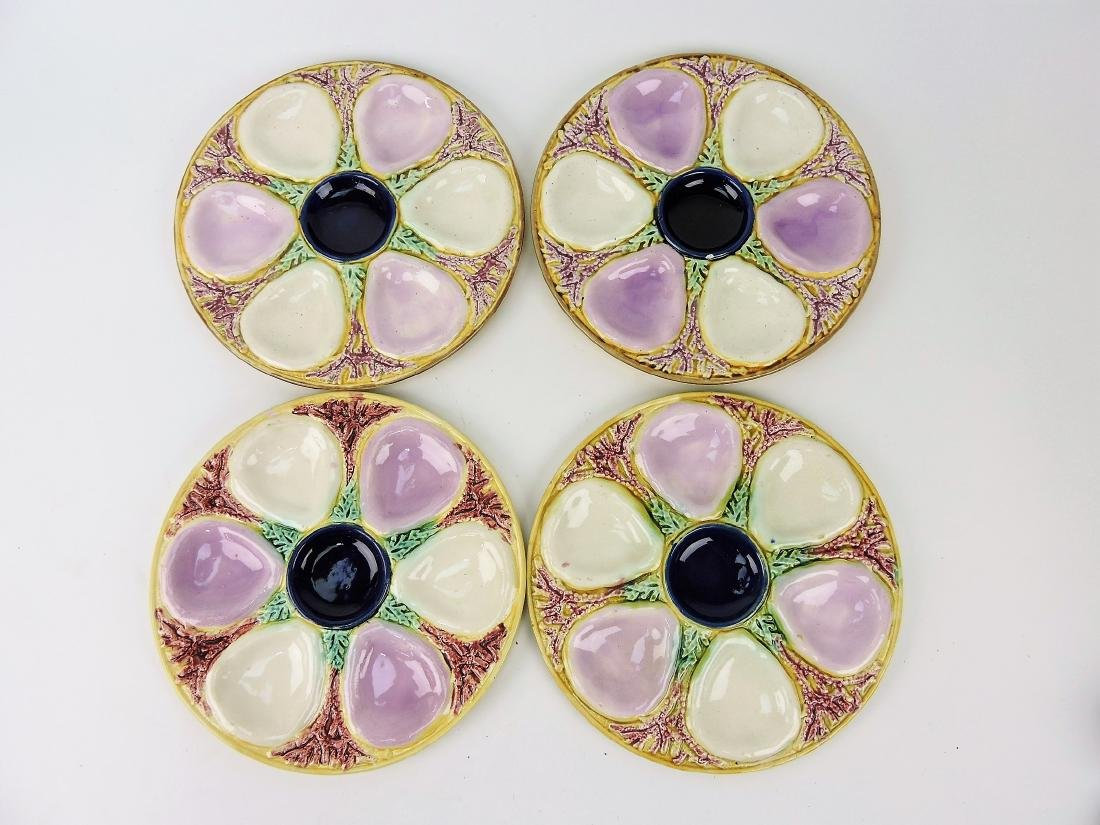 Majolica set of 4 oyster plates,