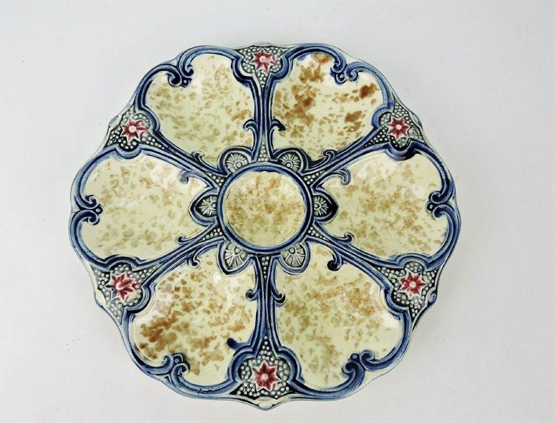 Majolica 6 well oyster plate with