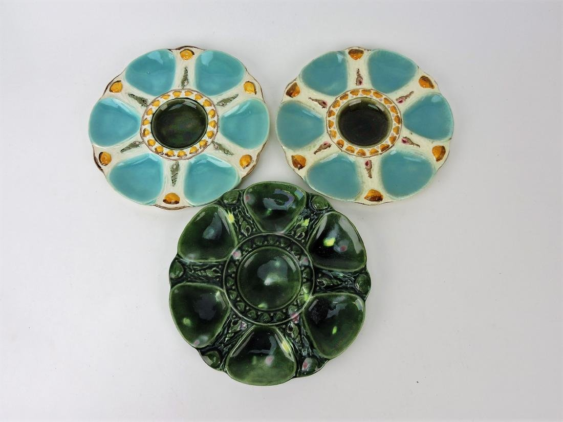 "Majolica lot of 3 - 9"" oyster plates"