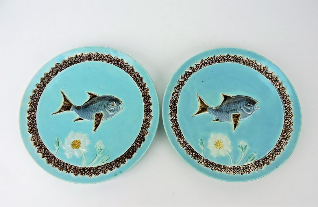 Holdcroft Majolica pair of turquoise
