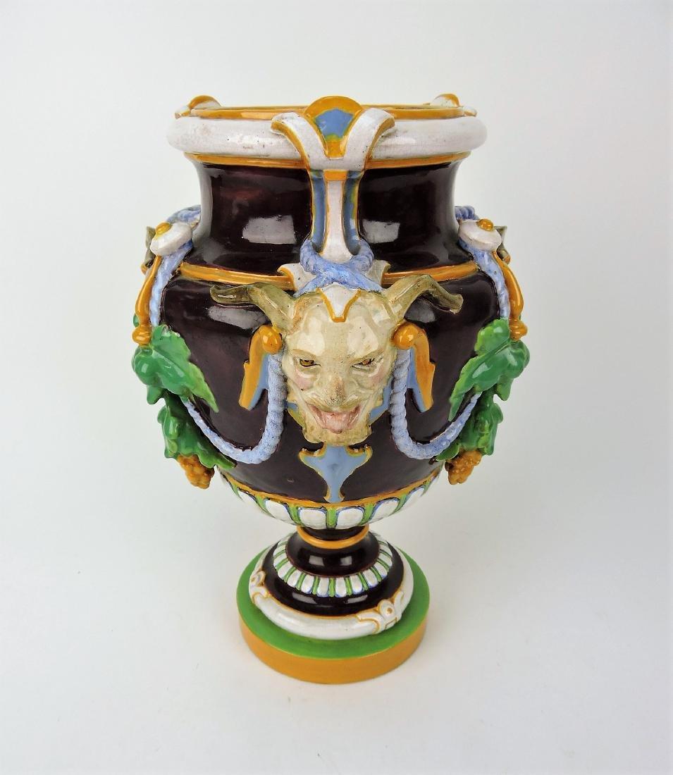 Minton Majolica Bacchus urn,
