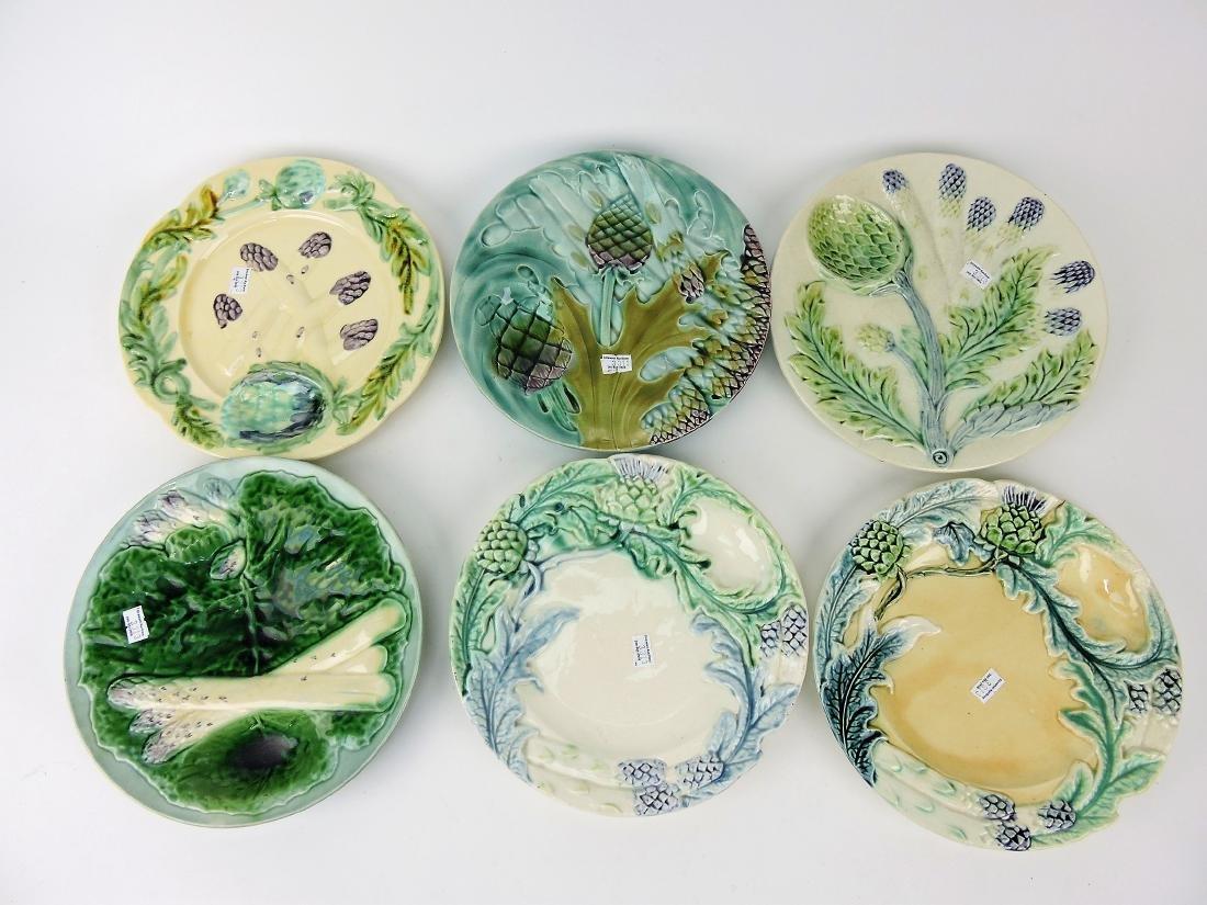 Majolica lot of 6 asparagus plates,