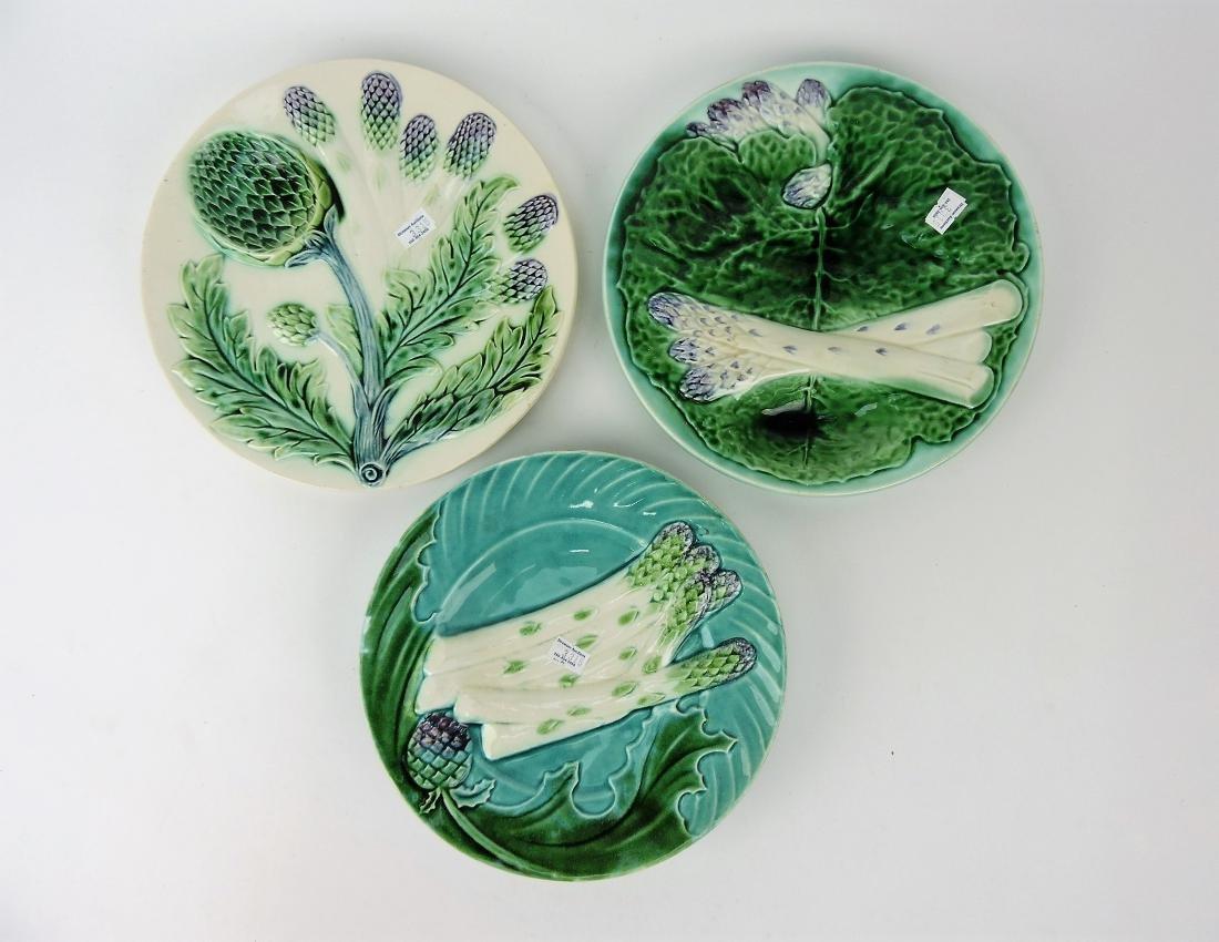 Majolica lot of 3 asparagus plates,