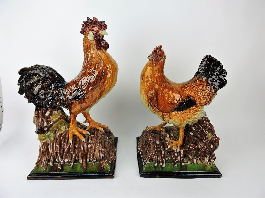 Portugal Majolica rooster and hen