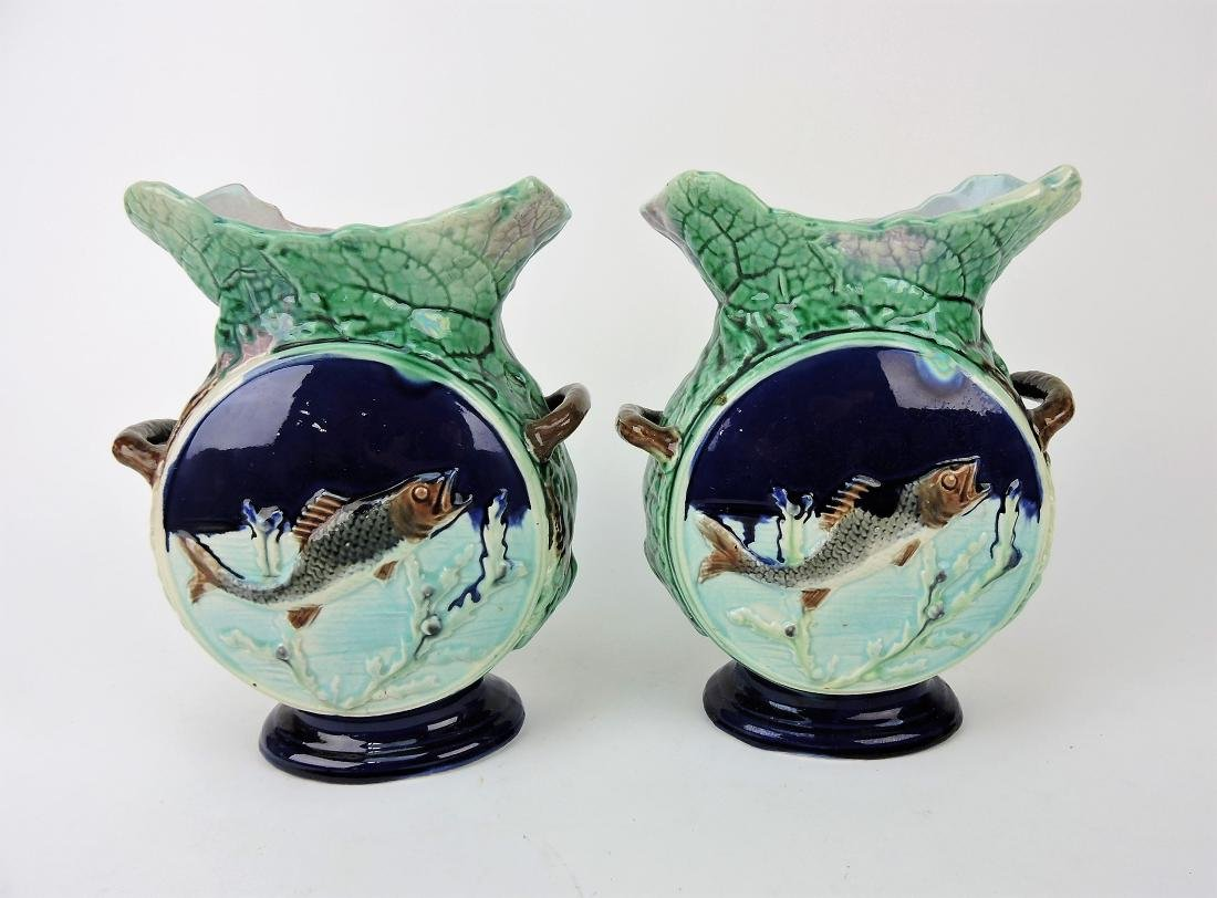 Majolica pair of flat sided fish and