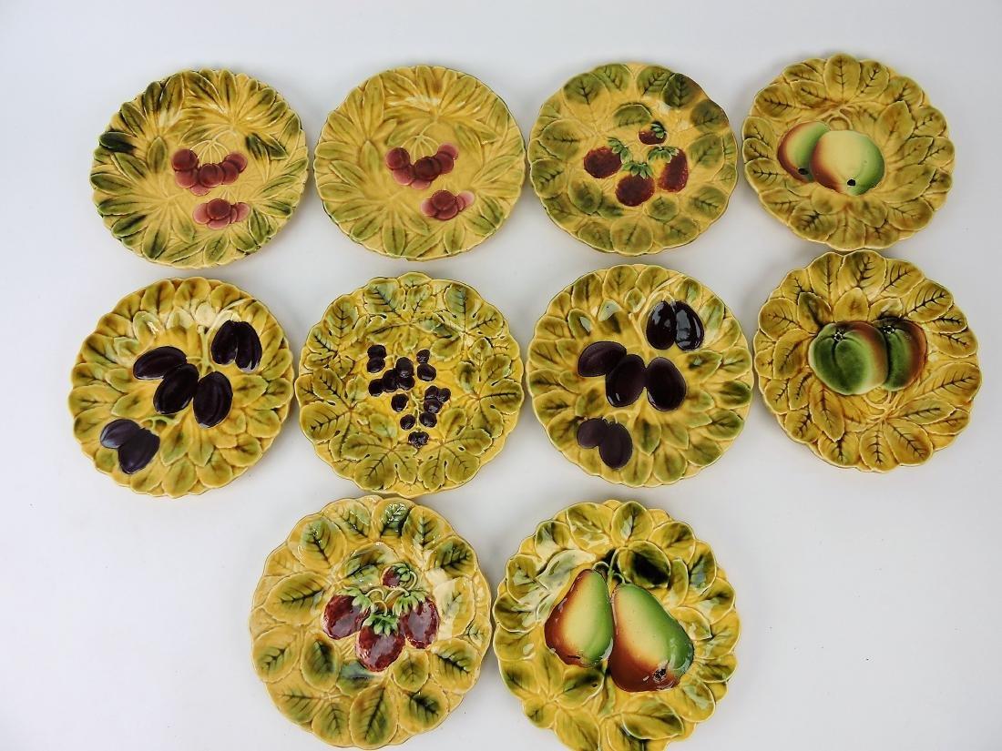 Sarreguemines Majolica set of 10 -