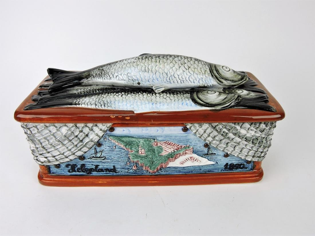 Majolica covered box with fish on