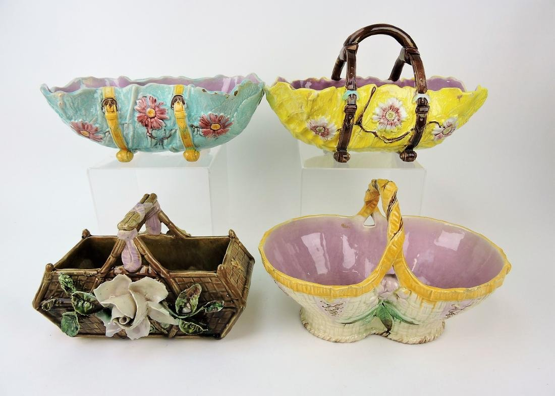 Majolica lot of 3 baskets and one