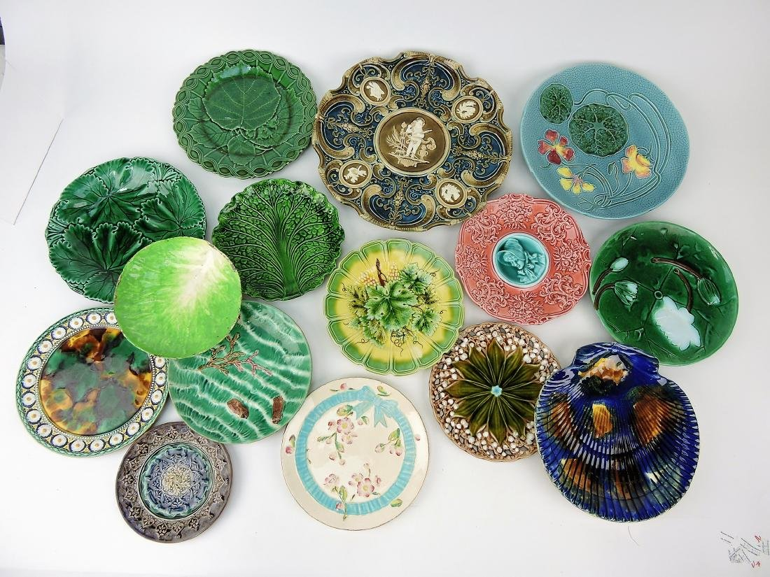 Majolica lot of 14 plates, various