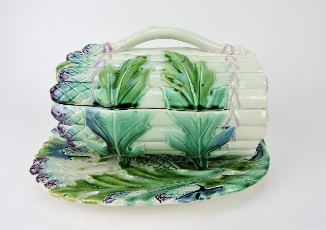 Majolica asparagus tureen and tray,