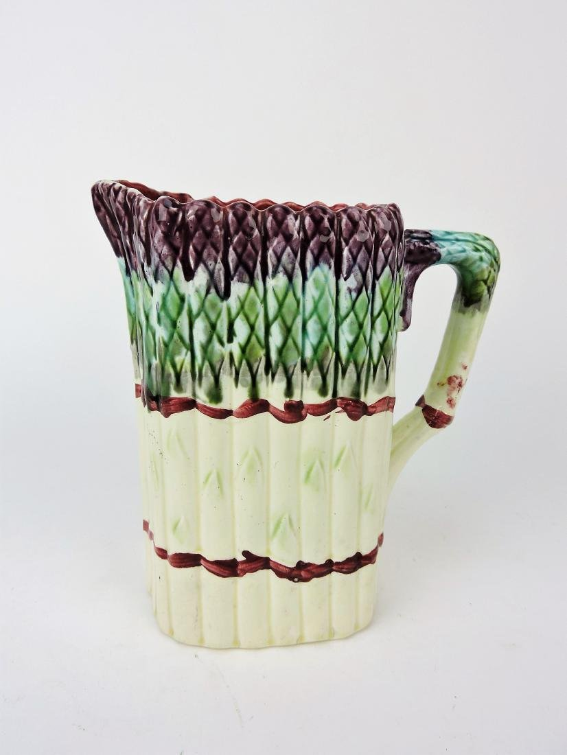 """Majolica asparagus pitcher, 8"""""""