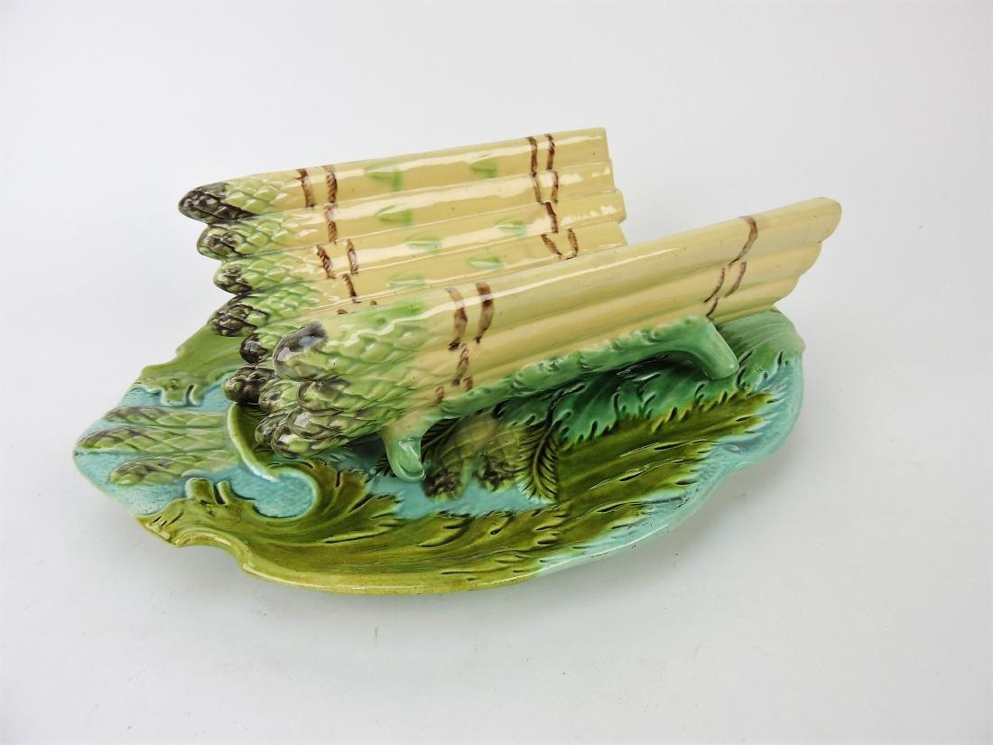 Majolica asparagus cradle and
